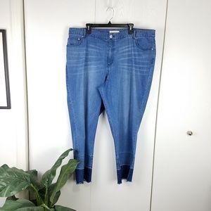 Eloquii medium wash jeans with two tone raw hem 20